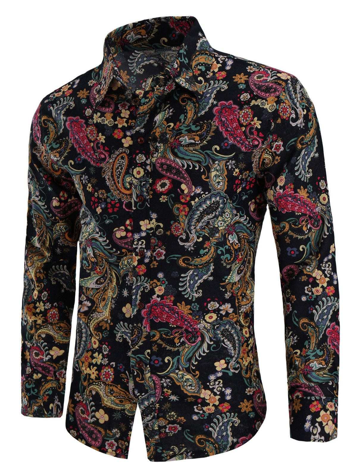5414830961e  13.99 - L-4Xl Fashion Men Paisley Print Linen Casual Shirt Long Sleeve  Shirts  ebay  Fashion