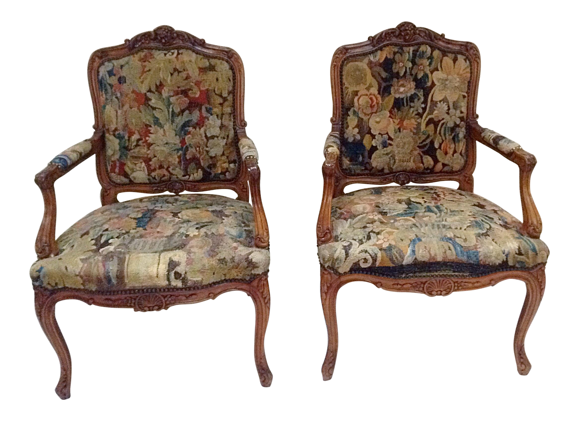 antique french chairs with tapestry upholstery pair pinterest