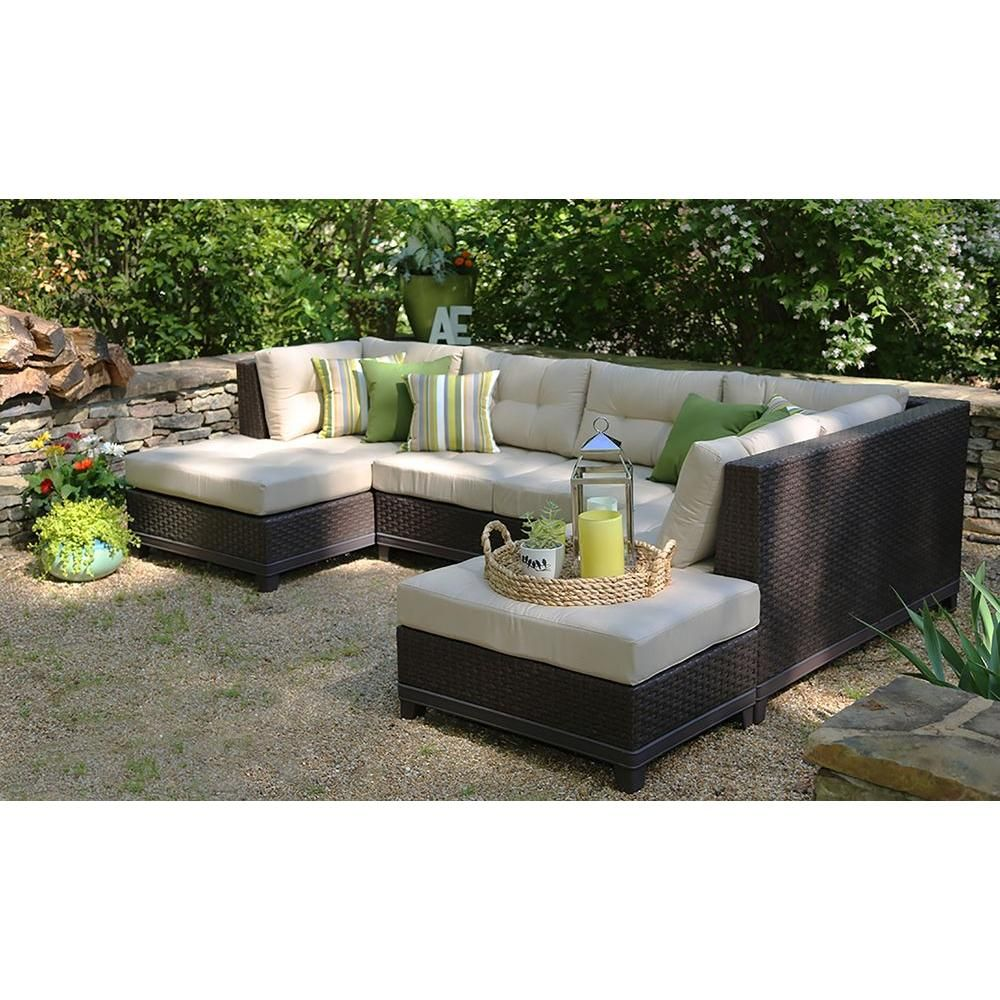 Ae Outdoor Hillborough 4 Piece All Weather Wicker Patio Sectional With Sunbrella Fabric Sec200520 The Home Depot Wicker Patio Sectional Patio Outdoor Living