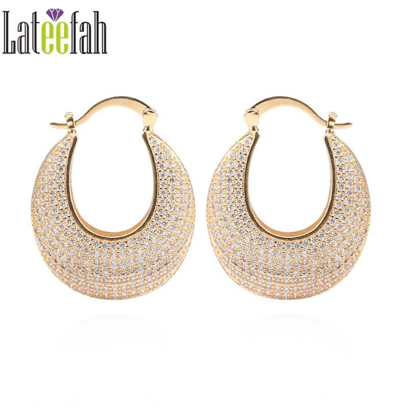 Large Hoop Earrings For Women Gold Basket Creole Boucle Micro Pave Cz Wedding Ring Earring Femme Creolen Oorbellen Price 13 99 Free