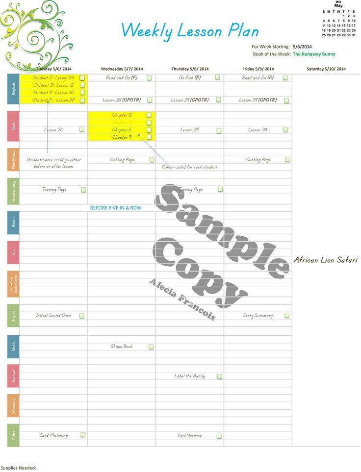 Store Old Lesson Plan Templates Homeschool And School