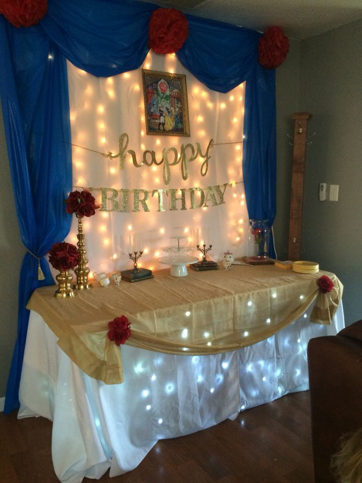 nice table idea beauty and the beast party pinterest nice beast and birthdays. Black Bedroom Furniture Sets. Home Design Ideas