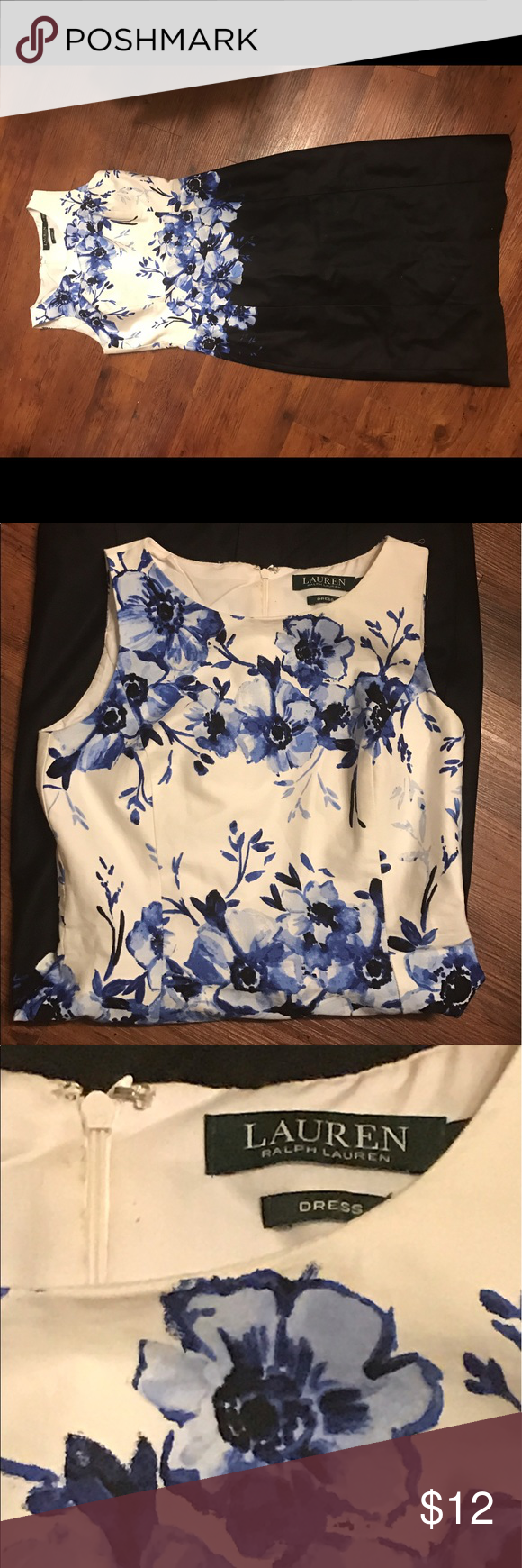 👗 Ralph Lauren Black and Blue Floral Sheath Dress Gently used. No stains or rips. Knee length. Comes from a smoke free and pet free home. Lauren Ralph Lauren Dresses Midi