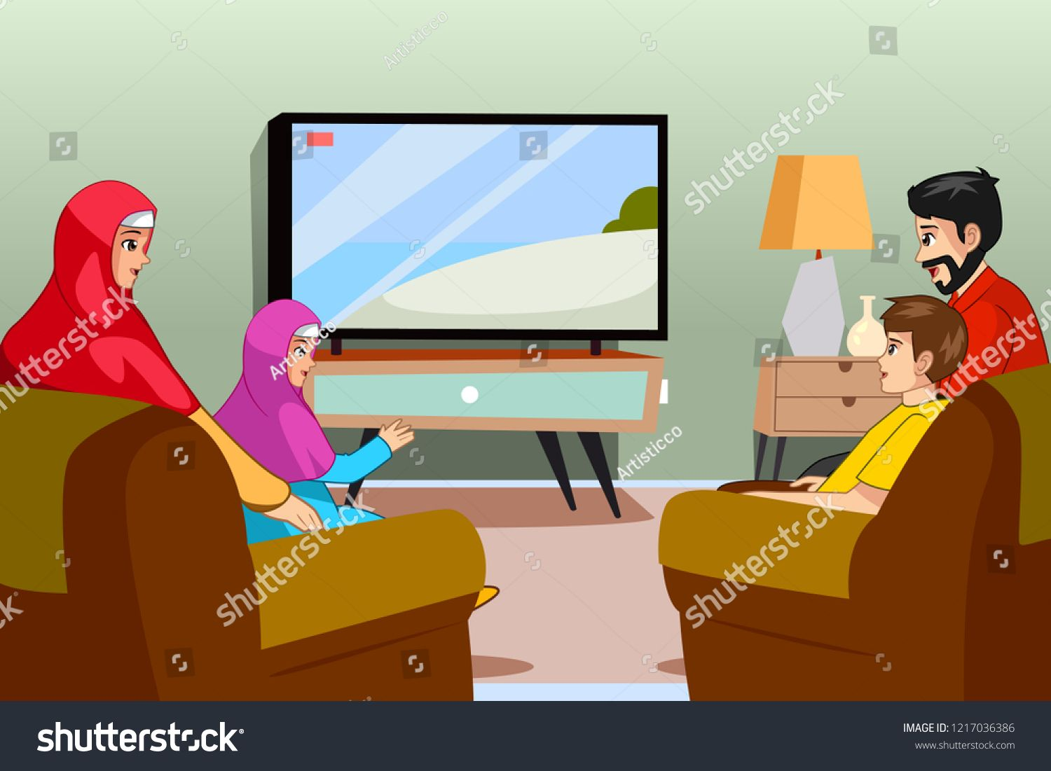A Vector Illustration Of Muslim Family Watching Tv At Home Ad Ad Muslim Illustration Vector Family Muslim Family Vector Illustration Anime Muslim