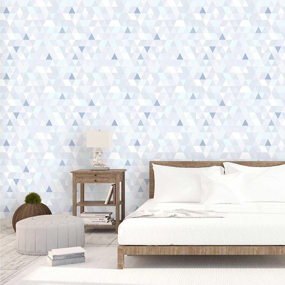 Light Blue Triangle Geometric Peel and Stick Wallpaper