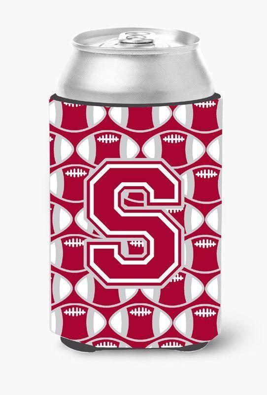 Letter S Football Crimson, grey and white Can or Bottle Hugger CJ1065-SCC