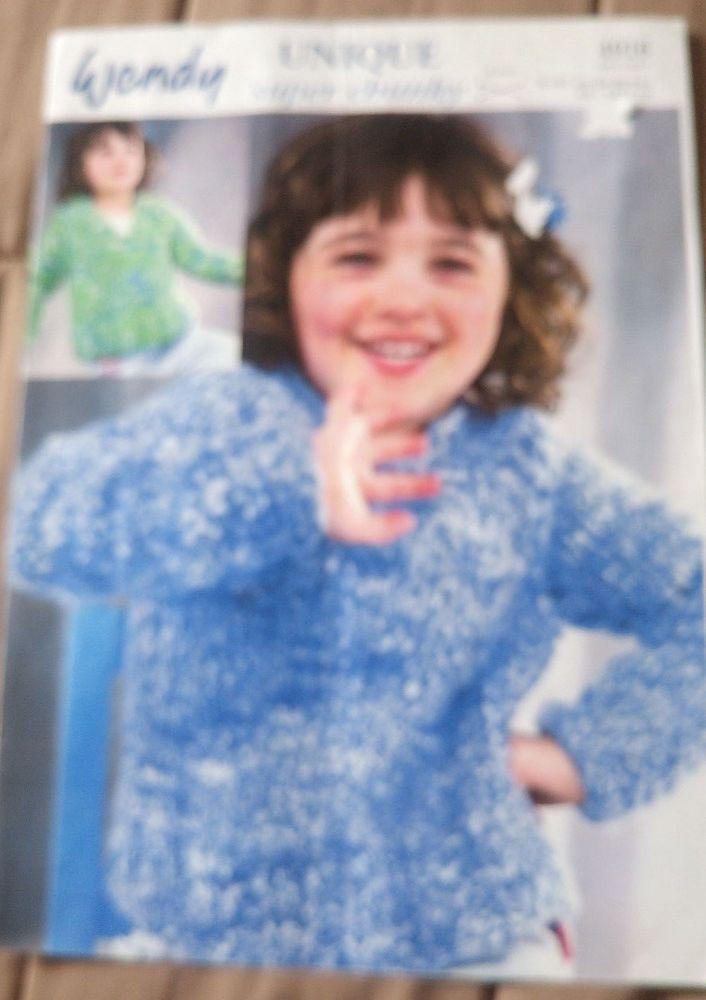 Child Teen Sweater Wendy Knitting Pattern Super Chunky Yarn 4 14