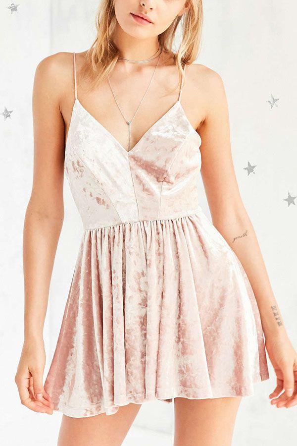 f895ced7caec Light Pink Spaghetti Straps Velvet Skater Dress
