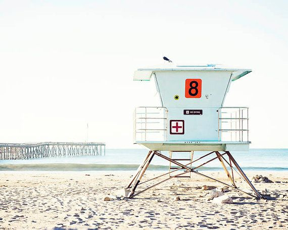Beach Photography Large Art Decor Lifeguard Tower Ventura Print Coastal Wall