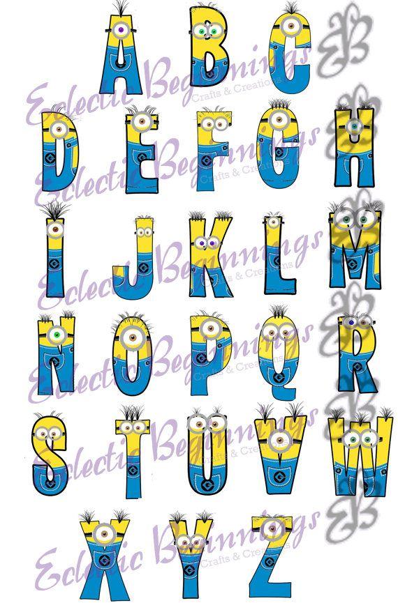 Alphabet Png Digital File Diy Print Clip ArtMinions Character