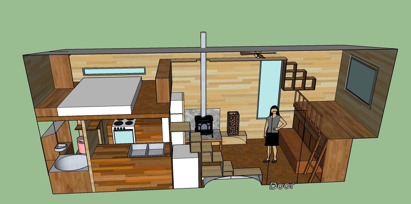 Tiny House Design With A Cantilevered Area A Spare Bed Doubling - Tiny home plan