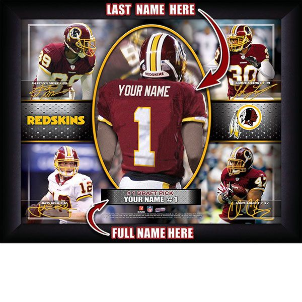 Washington Redskins NFL Football - Personalized Action Collage Print / Picture. Have you or someone you know ever dreamed about playing next to your favorite  Washington Redskins players. You or someone you know can be right there in the locker room with  Washington Redskins players! Optional framing with mat is available. Perfect for gifts, rec room, man cave, office, child's room, etc. ( www.oakhousesportsprints.com )