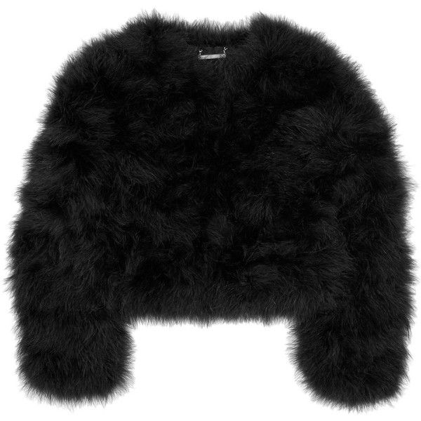 Diane von Furstenberg Jesse marabou feather jacket ($293) ❤ liked on Polyvore featuring outerwear, jackets, tops, coats, fur, fur jacket, diane von furstenberg jacket, diane von furstenberg, black cropped jacket and feather jacket