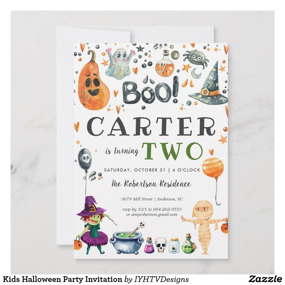 Kids Halloween Party Invitation Zazzle Com In 2019 Halloween