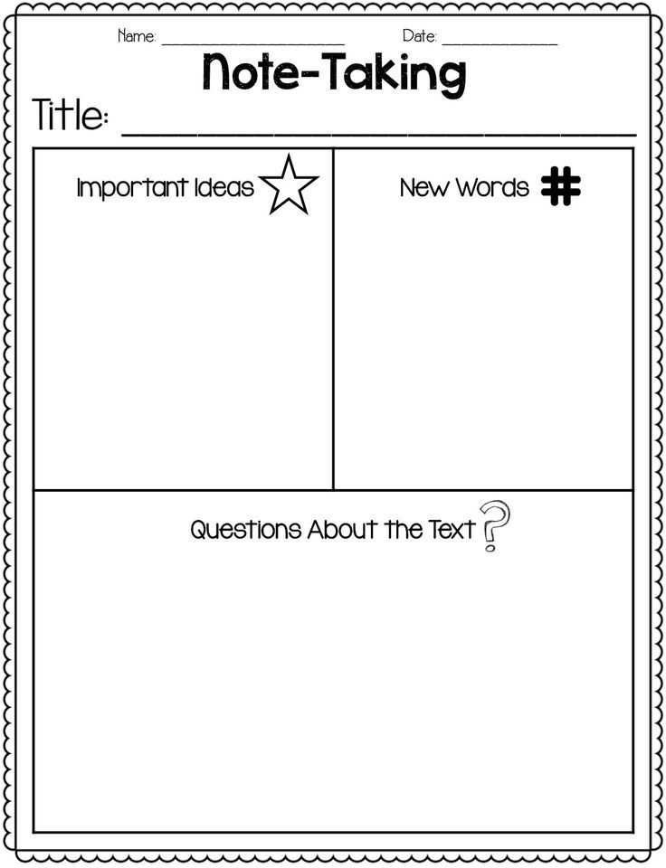 Great freebie for notetaking close reading – Note Taking Worksheets