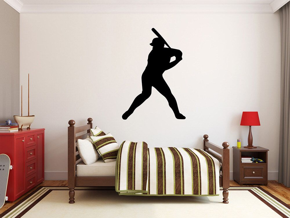 Baseball Player Wall Decal X Baseball Player Silhouette - Vinyl vinyl wall decals baseball