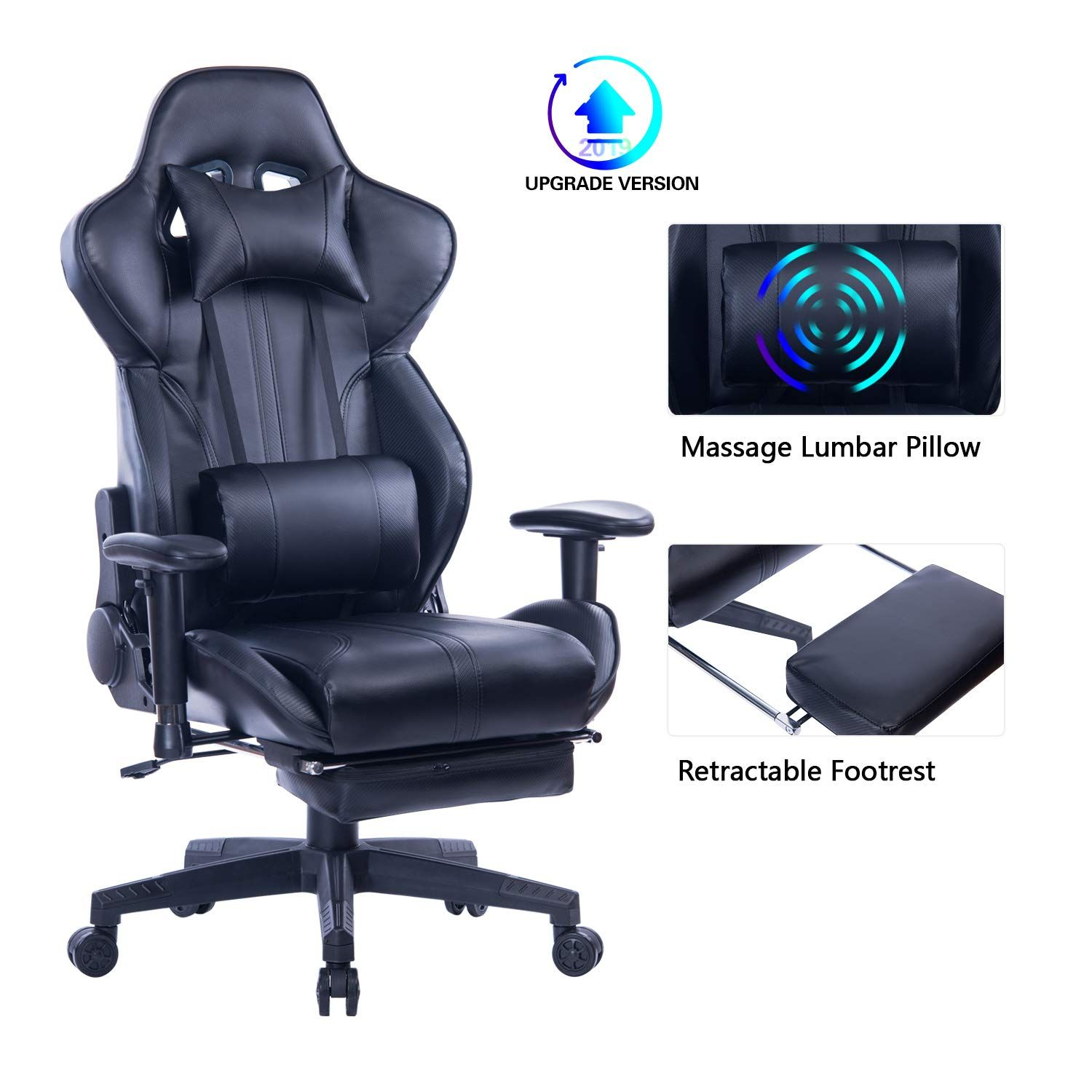 Blue whale gaming chair with adjustable massage lumbar