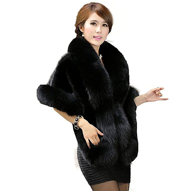 483d071e731 Women s Faux Fur Shawl Stole Wrap Cape Scarf Perfect for Wedding-Party -  Black - CY186903HX5 - Scarves   Wraps