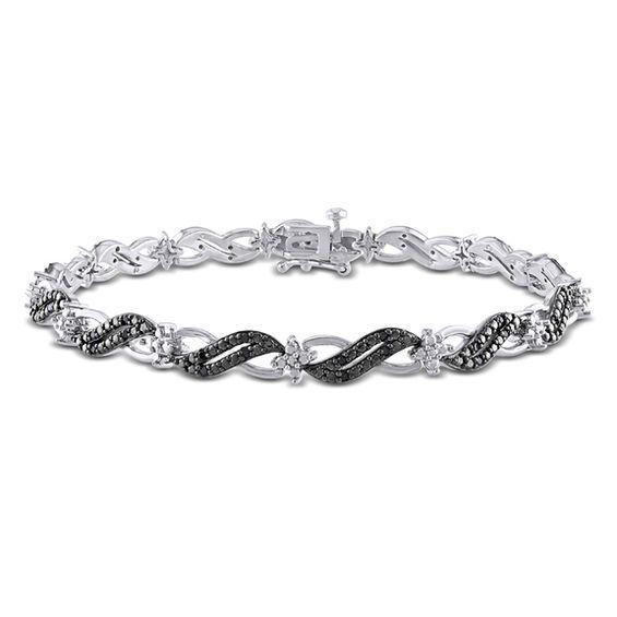 9c68c24f4 1/4 CT. T.w. Enhanced Black Diamond Cascading Bracelet in Sterling ...