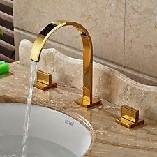 Gold Polished Widespread 3 Pcs Basin Faucet Dual S Vessel Sink Mixer Tap