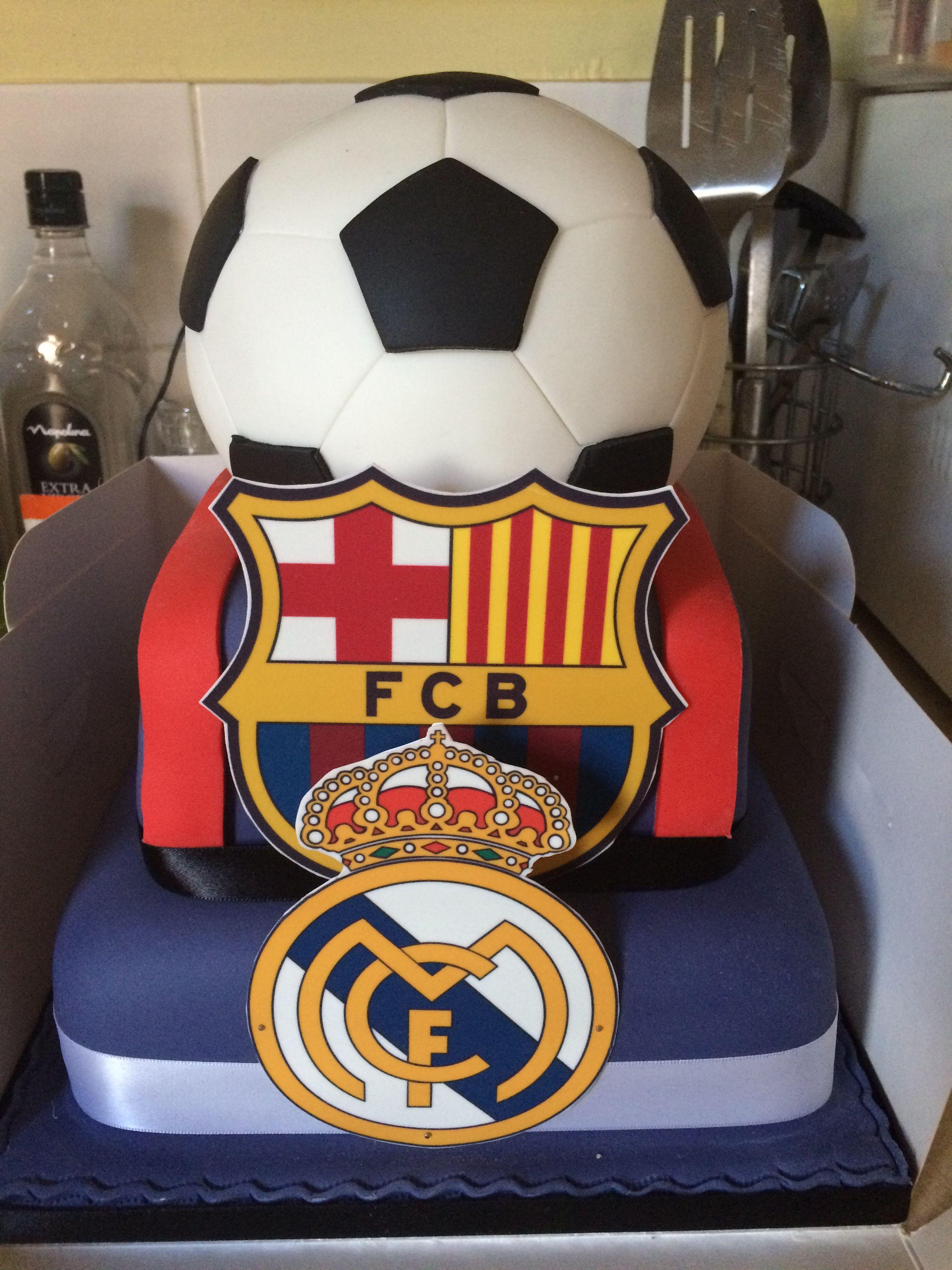 Barcelona Real Madrid Birthday Cake Tortas Barcelona Torta Real Madrid Pasteles De Diseño