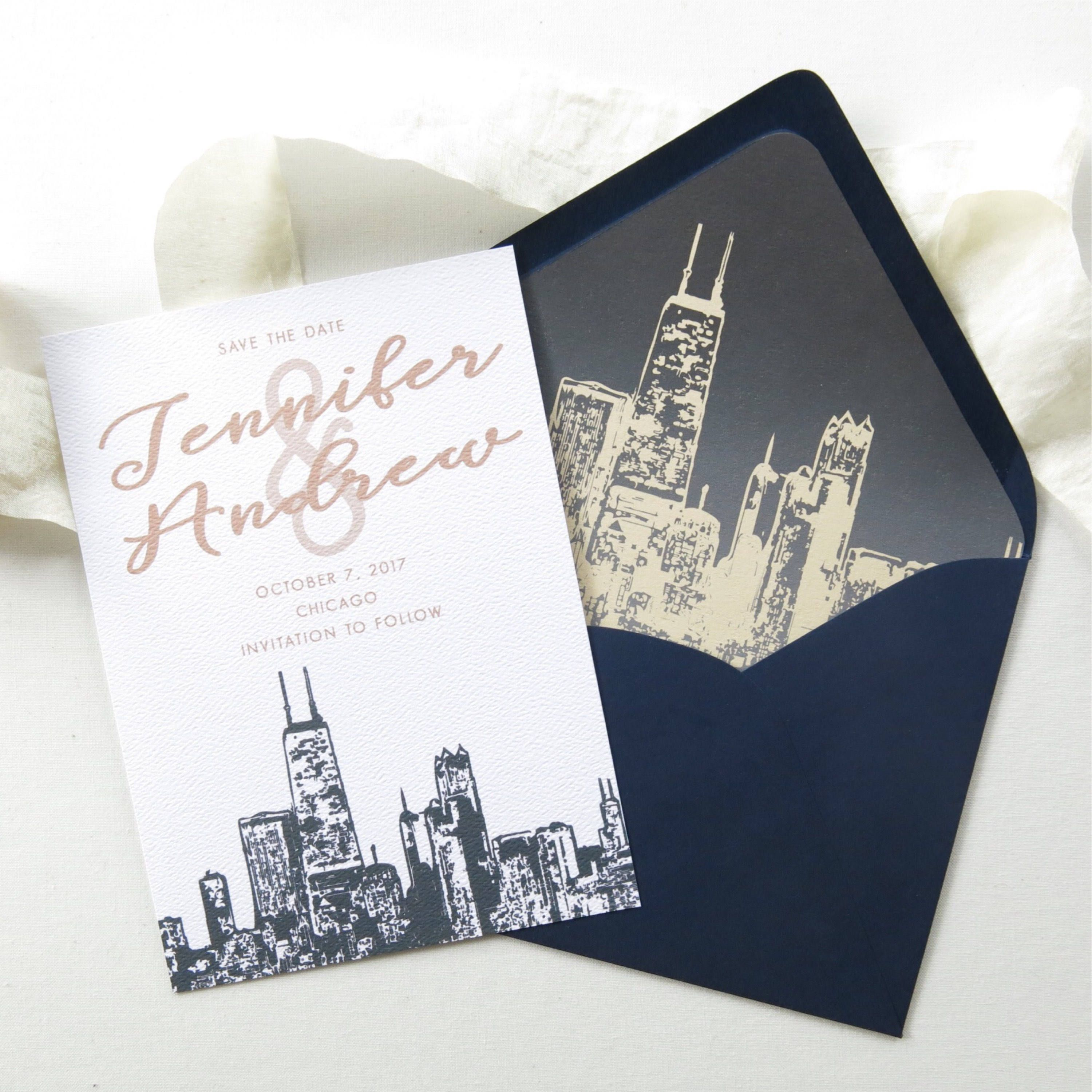 Chicago skyline save the date cards a7 size chicago etsy
