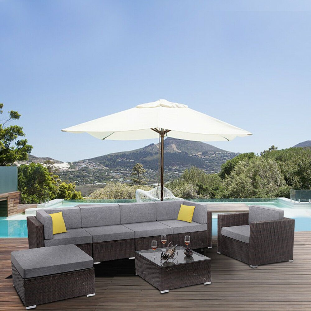 4 5 6 7pcs Garden Outdoor Sofa Set Wicker Sectional Couch Sofa Patio Furniture 408 24 Patio Furniture I In 2020 Patio Sectional Patio Furniture Outdoor Sofa Sets