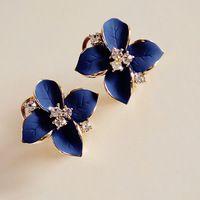 Nice New Fashion Blue Flower Crystal Ear Earrings Elegant Jewelry statement earrings aretes de mujer vintage earrings er-20