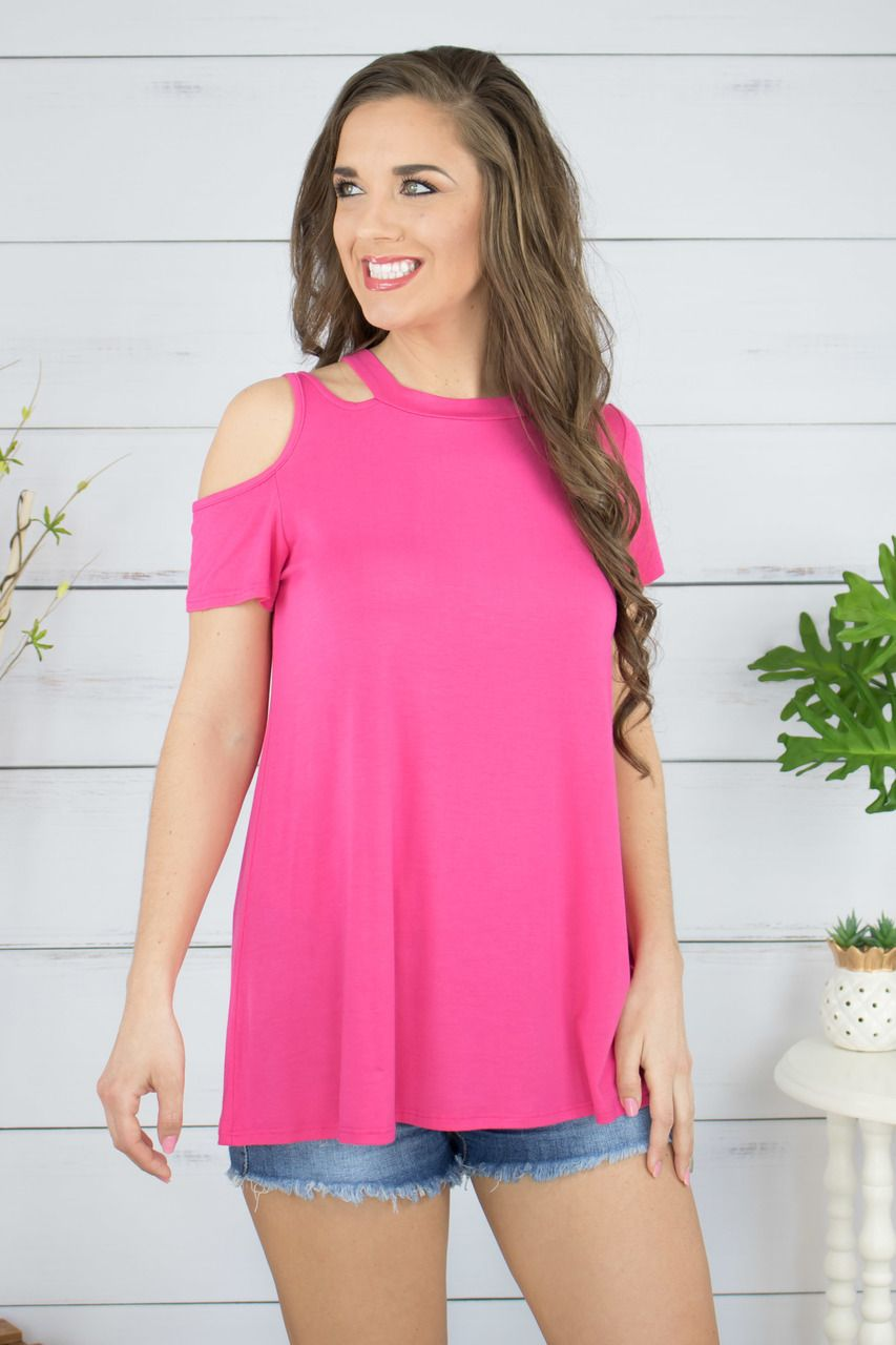 736eb06bbe9 This one-sided cold shoulder design is absolutely adorable. We're loving  the bright pink color and double strap design. This fun top is a must-have  for your ...
