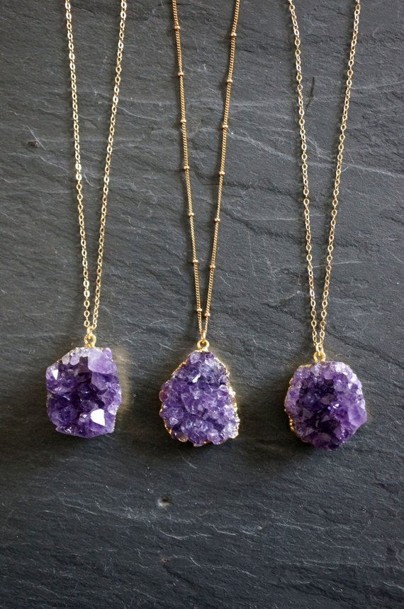 Pink Amethyst And Druzy Necklace Lavender Druzy Double Strand Necklace Gold Filled Necklace Layered Necklace Pink Amethyst