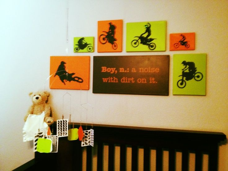 Dirt bike decor for baby\'s nursery; so happy w how it turned out ...