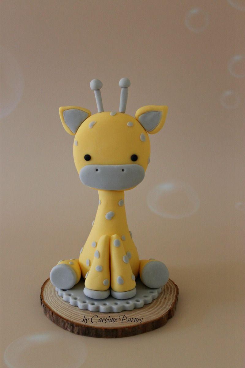 Fondant giraffe baby shower cake topper - Love Cake Create ...