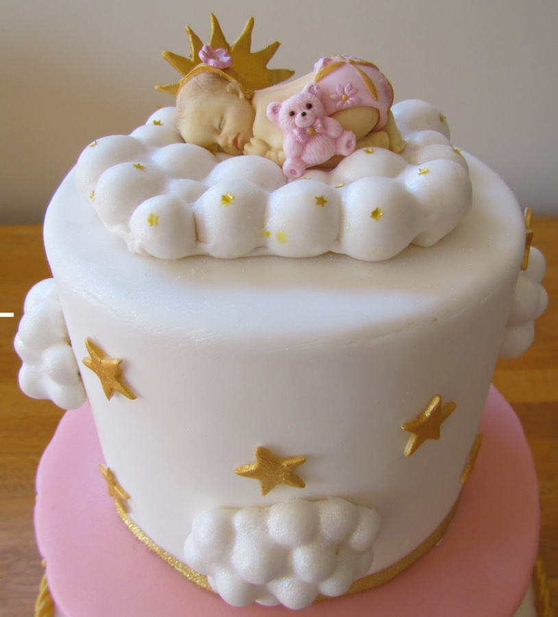Baby On A Cloud Baby Shower Cake Baby Cakes Pinterest