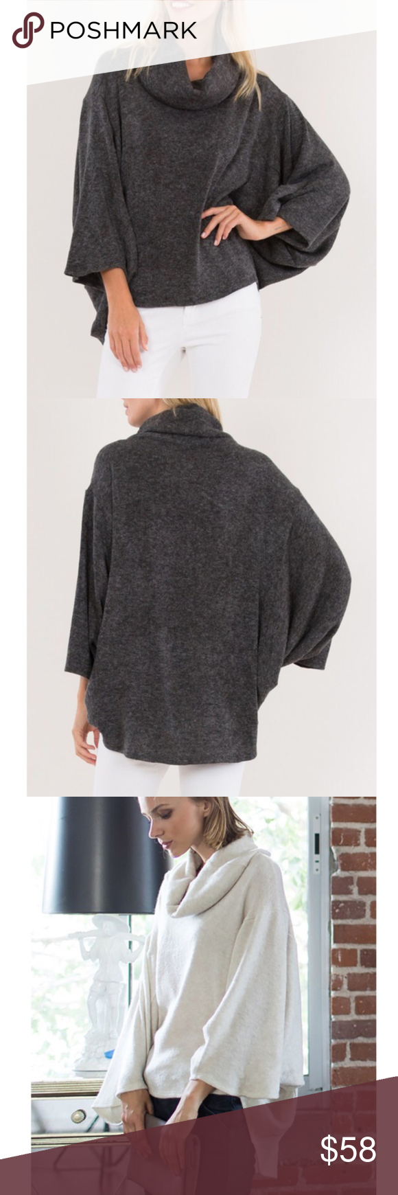 Charcoal Dolman Sleeve Cowl Neck Sweater Boutique | Knit cowl ...