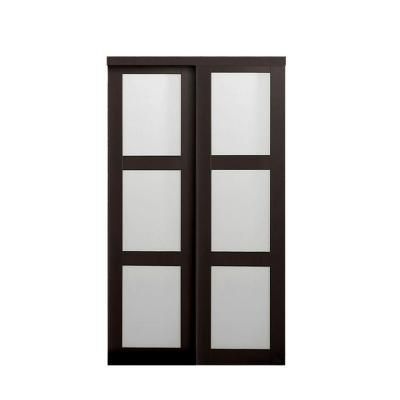 Truporte 48 In X 80 5 In 2290 Series Espresso 3 Lite Tempered Frosted Glass Composite Sliding Door 2290 Sliding Doors Interior Glass Barn Doors Sliding Glass Door