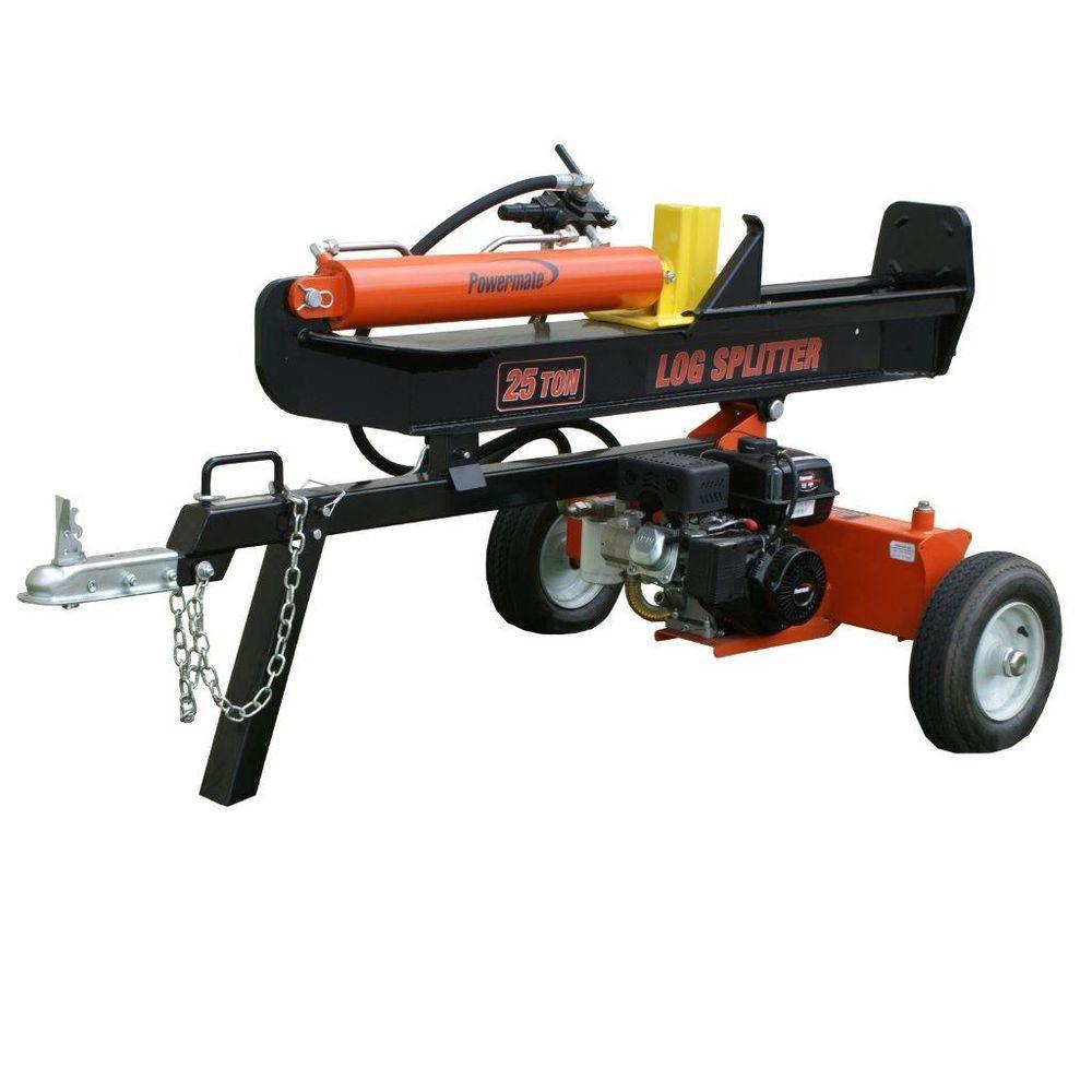 Powermate 25 Ton 208cc Gas Log Splitter Pls20825 The Home Depot Gas Log Splitter Log Splitter Wood Splitter