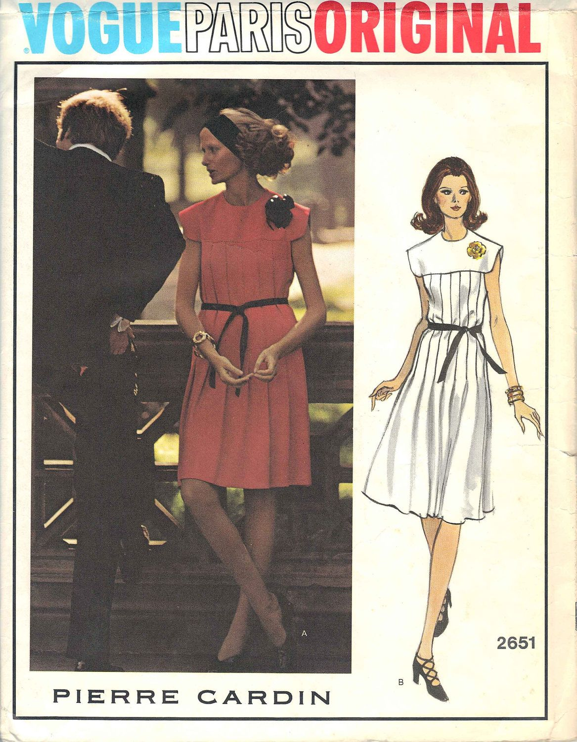 Vintage Pierre Cardin Vogue Paris Original Uncut Sewing Dress ...