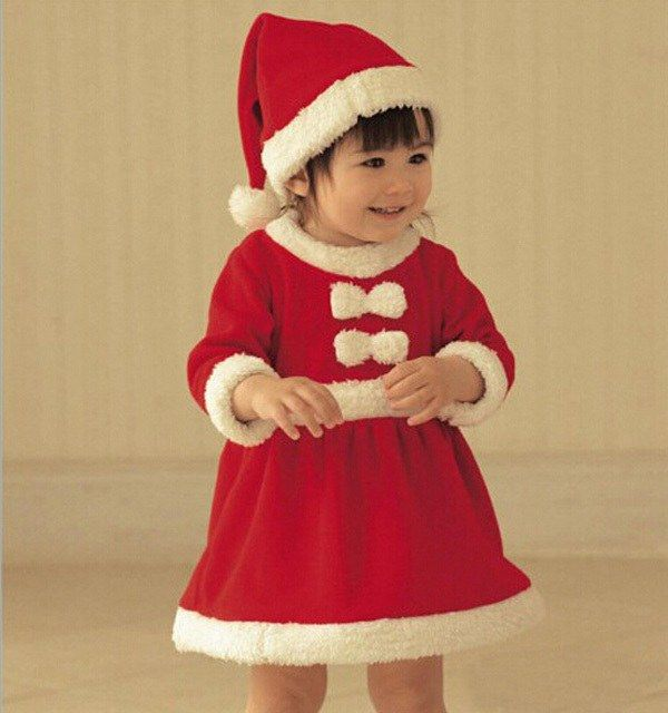3bcaa75dcf507 Traditional santa hat Red and white christmas girls dress baby infant  newborn for age 3