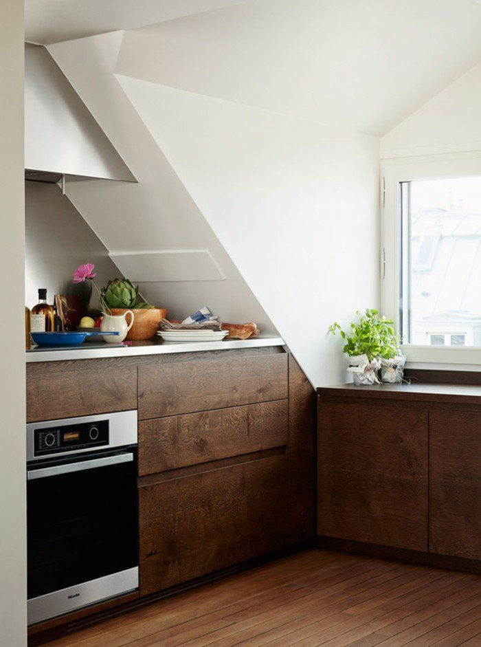 kücheneinrichtung mansarde dachschräge deko ideen küche19 Küche - designer kchen deko