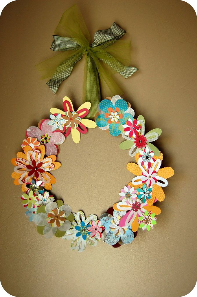 Wreathspaperflowers diy to try pinterest wreaths paper ashley macy taber alissa neal i have the die cut machine dies to make this wreath and although ive never tried it will cut fabric too mightylinksfo