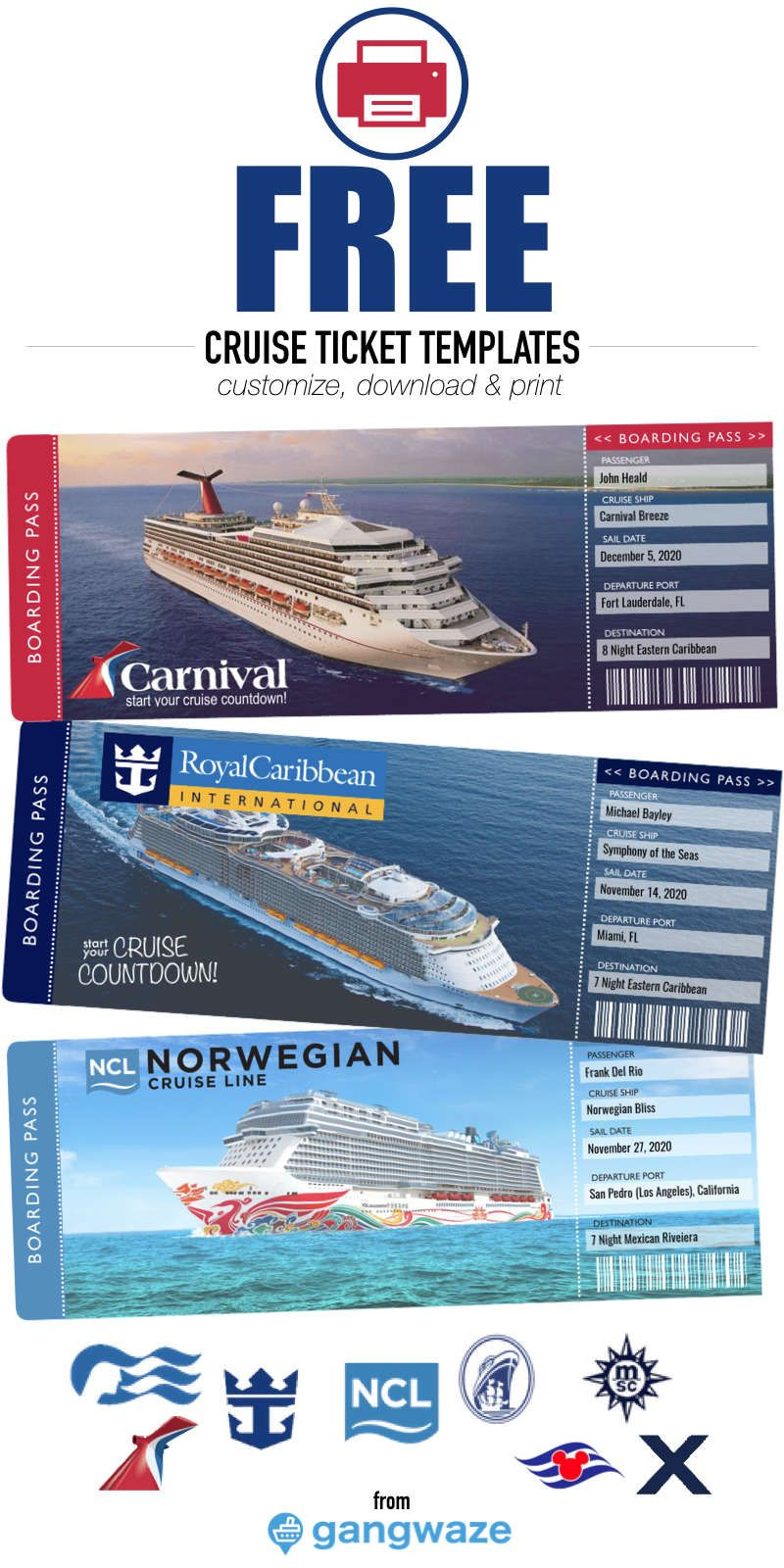 Free Printable Cruise Ticket Template Cruise Tickets Cruise Gifts Disney Trip Reveal