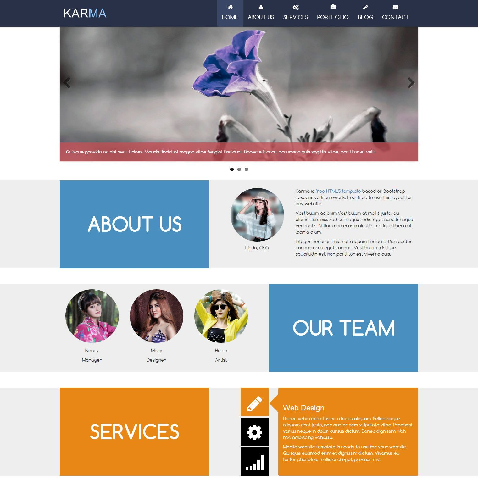 Karma Is Free Web Template Responsive Html5 Mobile Layout With One