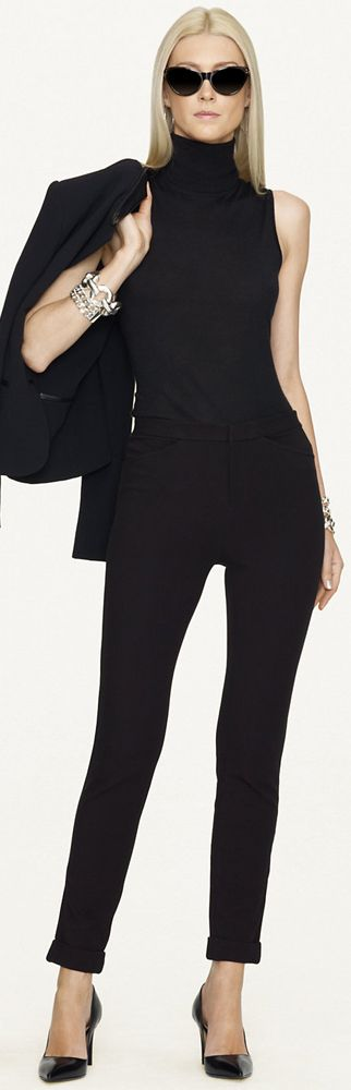 Chic Professional Woman Work Outfit. Fall / winter - business casual - work outfit - office wear - all black - black pants + black sleeveless turtle neck top + black blazer - Ralph Lauren ● 2013