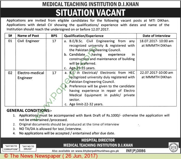 Medical Teaching Institution D I Khan Jobs  Jobs In Pakistan
