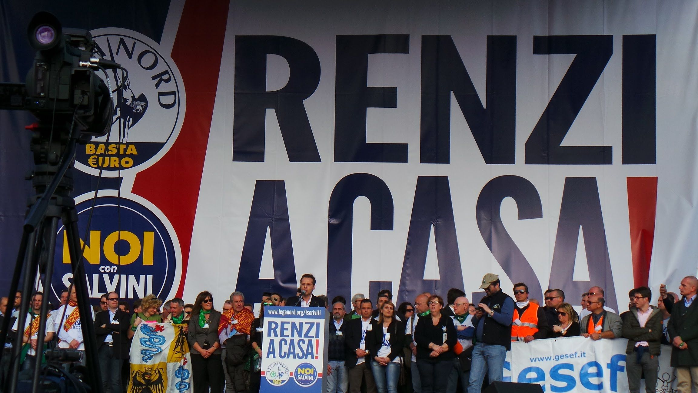 Matteo Salvini Renzi a Casa! Manifestazione Roma Lega Nord