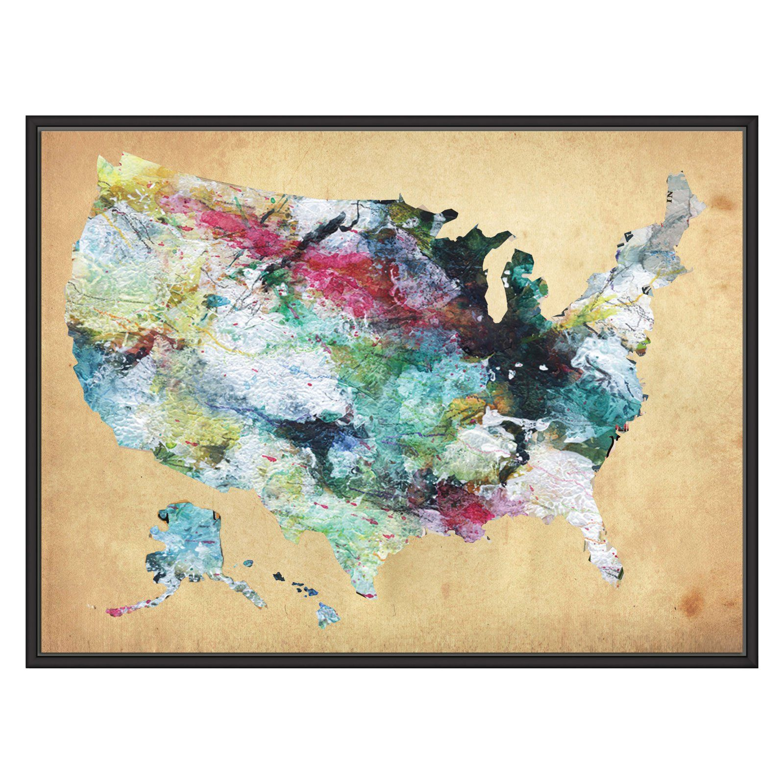 Ptm Images Watercolor Usa Map Decorative Wall Art Watercolor Usa