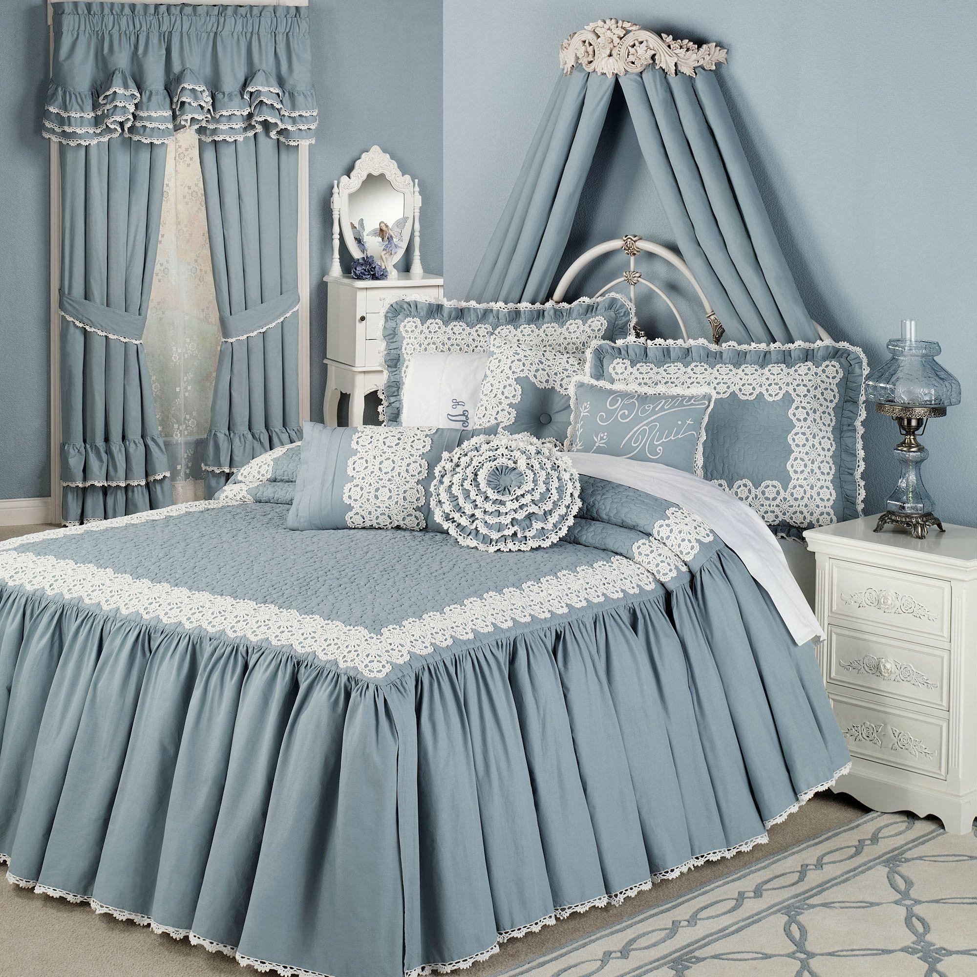 Devotion steel blue crochet bedspread en 2020 dessus de