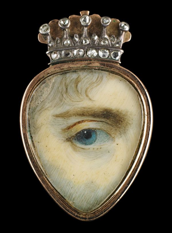 In the 18th and 19th centuries, wealthy British and European lovers exchanged 'eye miniatures…' love tokens so clandestine that even now it is almost impossible to identify their recipients or the people they depict. They were meant to be worn inside the lapel, near the heart.