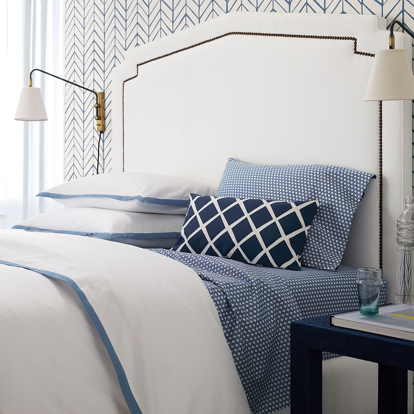 blue + white bedroom, feather wallpaper from Serena & Lily