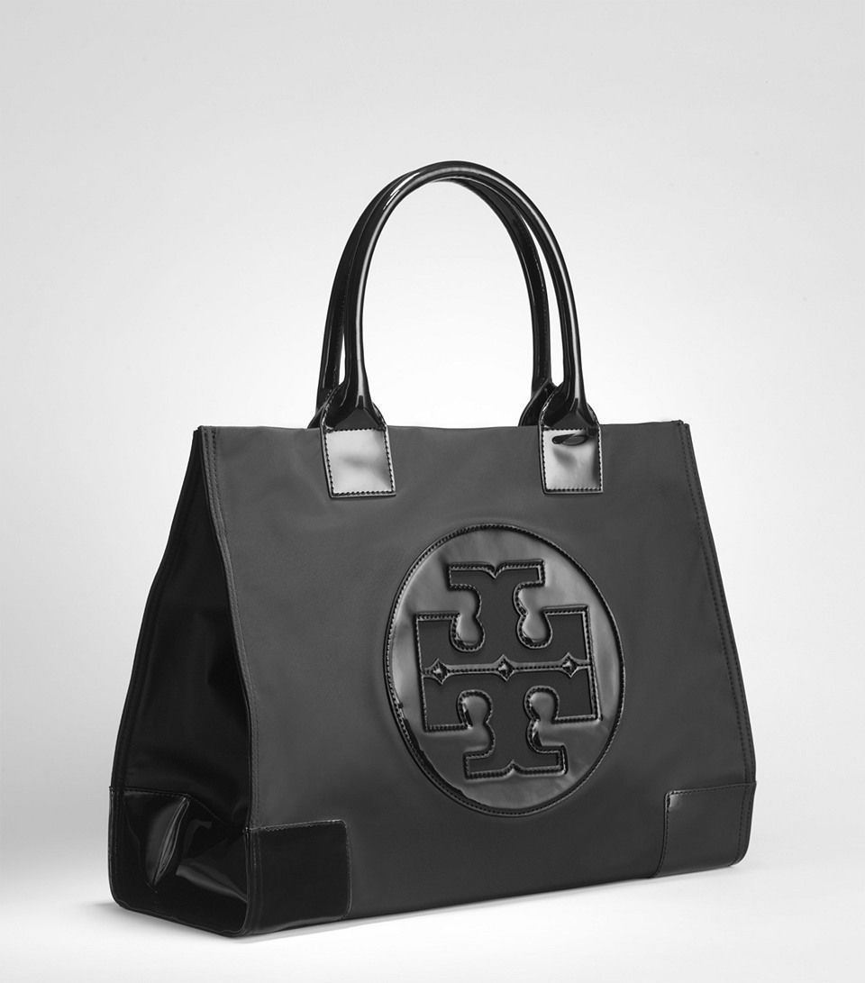 New Authentic Tory Burch Ella Nylon Large Logo Tote Bag Black